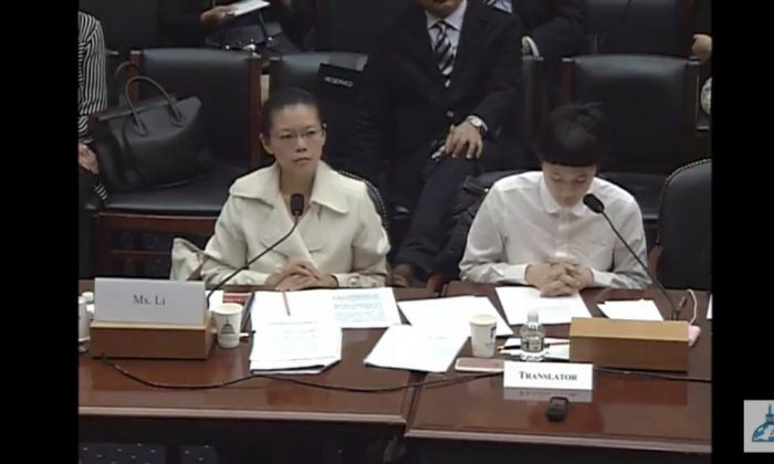 Lee Ching-yu (left), wife of the imprisoned Taiwanese rights activist Lee Ming-che, gives testimony about her husband at a U.S. Congress hearing in May 2017. (Screenshot from video of congressional hearing, House Foreign Affair Committee)