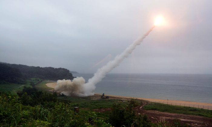 In this handout photo released by the South Korean Defense Ministry, U.S. Army Tactical Missile System (ATACMS) firing a missile into the East Sea during a South Korea-U.S. joint missile drill aimed to counter North Korea's ICBM test on July 29, 2017 in East Coast, South Korea.  (South Korean Defense Ministry via Getty Images)