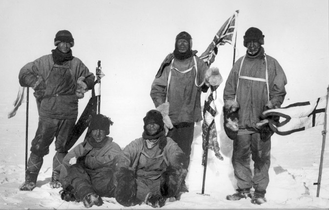 Last expedition of Robert Falcon Scott. The image shows Wilson, Scott and Oates (standing); and Bowers and Evans (sitting) on Jan 18, 1912. (Henry Bowers [Public domain], via Wikimedia Commons)