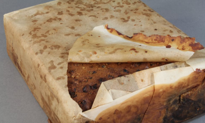 Fruit cake found at Cape Adare thought to be from Scott's Northern Party (1911).  (Antarctic Heritage Trust)