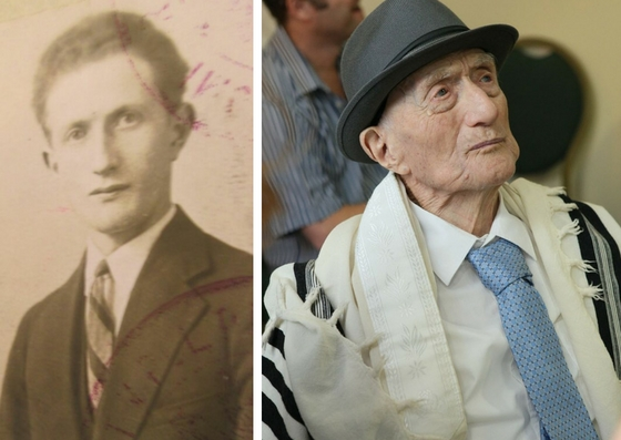 Yisrael Kristal in 1931 (left) and circa 2016 (right).