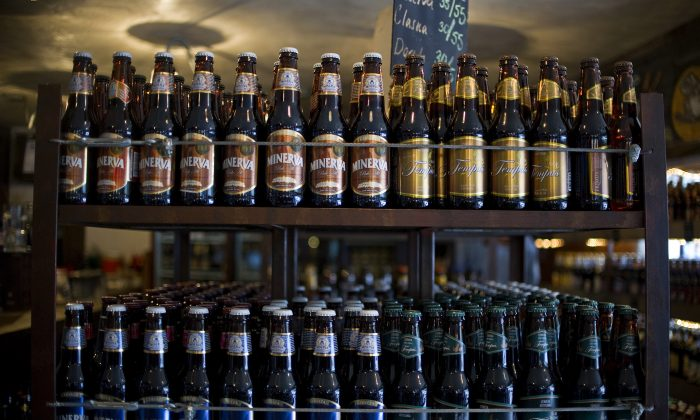 Mexican craft beer bottles on display in a bar in Mexico City, on July 20, 2012. (Ronaldo Schemidt/AFP/GettyImages)