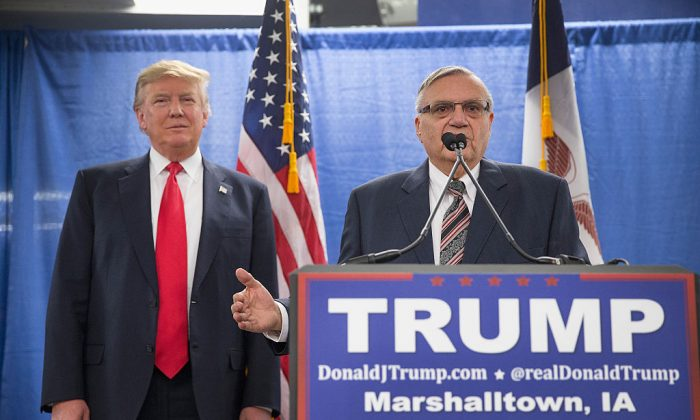 Sheriff Joe Arpaio (R) of Maricopa County, Arizona endorses Republican presidential candidate Donald Trump prior to a rally on January 26, 2016 in Marshalltown, Iowa. (Scott Olson/Getty Images)