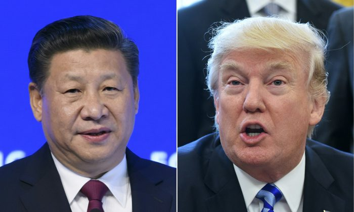 (COMBO) This combination of pictures created on March 30, 2017 shows China's President Xi Jinping (L) delivering a speech on the opening day of the World Economic Forum, on January 17, 2017 in Davos, and US President Donald Trump (R) announcing the final approval of the XL Pipline in the Oval Office of the White House on March 24, 2017 in Washington, DC. (FABRICE COFFRINI,MANDEL NGAN/AFP/Getty Images)