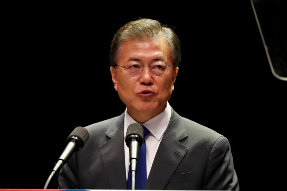 South Korean President Moon Jae-In, delivers a speech during celebrations of the 72th anniversary of Korea's Independence Day from Japanese colonial rule in 1945 in Seoul, South Korea, August 15, 2017. (Reuters/Jeon Heon-Kyun/Pool)