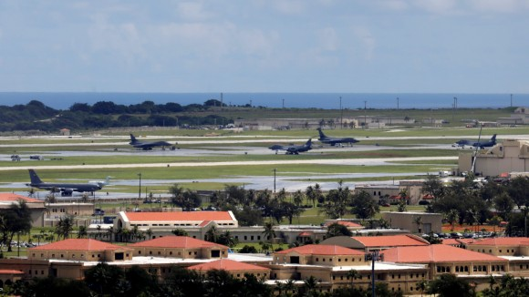A view of U.S. military planes parked on the tarmac of Andersen Air Force base on the island of Guam, a U.S. Pacific Territory, August 15, 2017.  (Reuters/Erik De Castro)