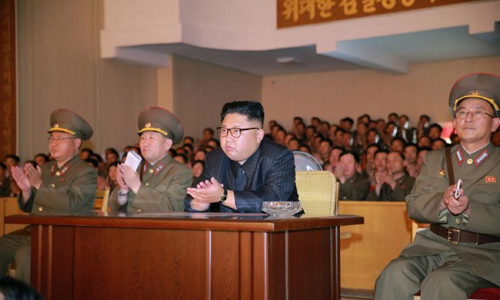 An image released by North Korea's official Korean Central News Agency on Aug. 14 shows North Korean communist dictator Kim Jong-Un while inspecting the Command of the Strategic Force of the Korean People's Army at an undisclosed location. (STR/AFP/Getty Images)