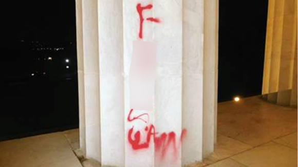 Vandal's graffiti seen on the Lincoln National Memorial on Tuesday, August 15, 2017. (National Park Service)