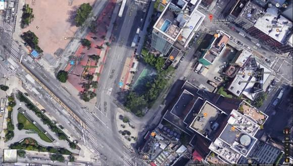 SOHO lower Manhattan location where cab driver died. (Image via Google Maps)