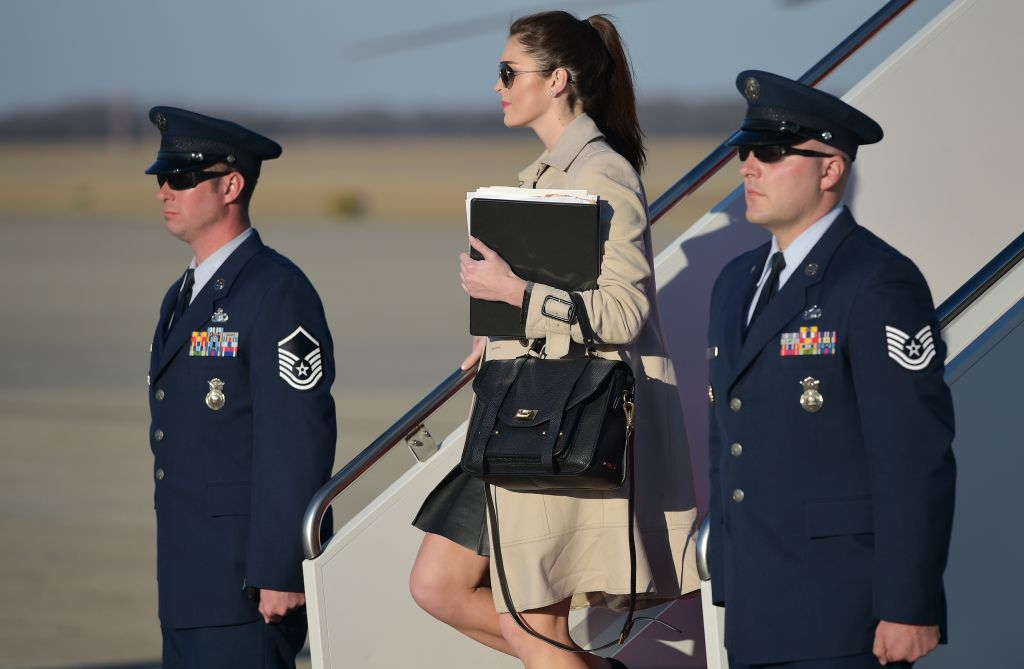 White House Director of Strategic Communications Hope Hicks steps off Air Force One on Feb. 6, 2017 upon arrival at Andrews Air Force Base in Maryland. (MANDEL NGAN/AFP/Getty Images)