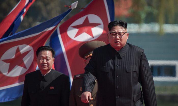 North Korean leader Kim Jong-Un arrives at a ceremony in Pyongyang on April 13, 2017. (ED JONES/AFP/Getty Images)