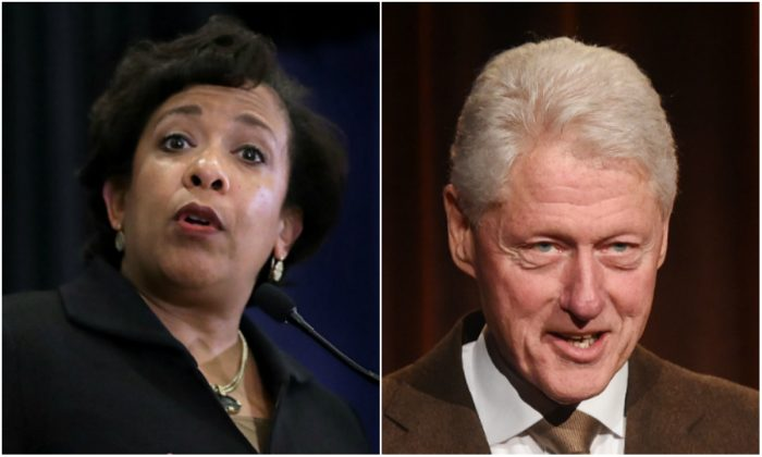 Loretta Lynch (L) and Bill Clinton (R) (Chip Somodevilla and Jamie McCarthy/Getty Images)