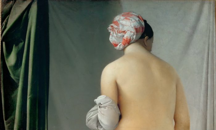 """""""The Valpincon Bather,"""" (cropped) 1808, by Jean Aguste Dominique Ingres (1780–1867). Oil on canvas, 57.5 inches by 38.2 inches, Louvre Museum (Public domain)."""