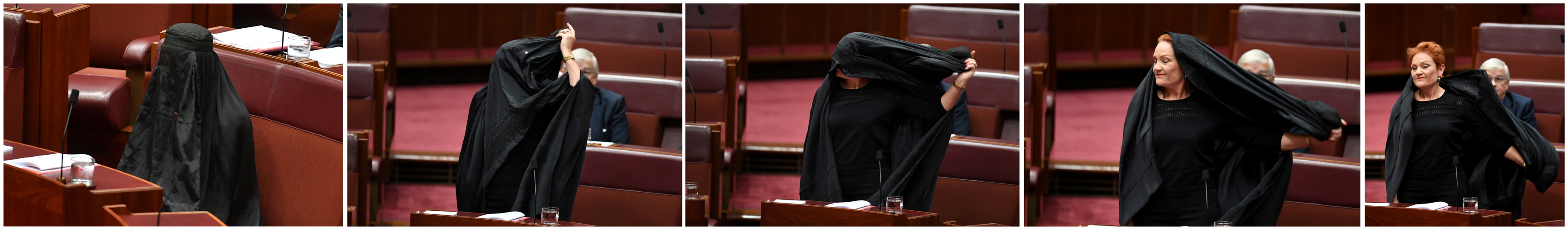 A combination photo shows Australian One Nation party leader, Senator Pauline Hanson wearing a burqa and taking it off in the Senate chamber at Parliament House in Canberra, Australia, August 17, 2017.  (AAP/Mick Tsikas/via REUTERS)