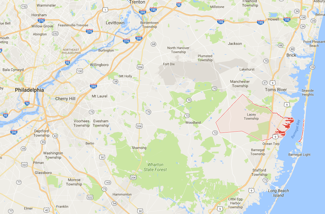 Lacey Township is about 30 miles east of Philadelphia. (Google Maps)