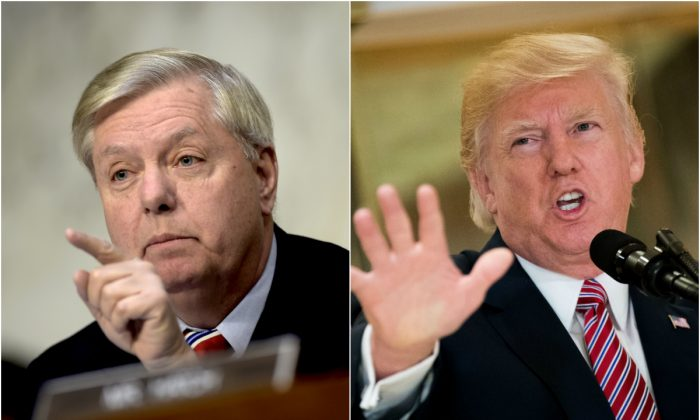Sen. Lindsey Graham (R-S.C.) (L), and President Donald Trump. (BRENDAN SMIALOWSKI/AFP/Getty Images & Drew Angerer/Getty Images)