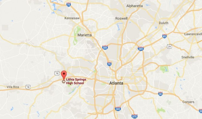The teacher, who was not named, took the gun into Lithia Springs High School at around 7:15 a.m. on Thursday, The Associated Press reported, citing Hambrick. (Google Maps)