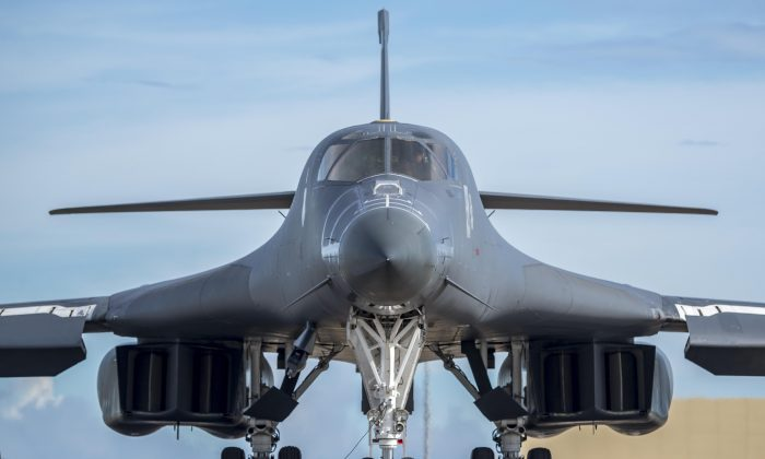 A U.S. Air Force B-1B Lancer assigned to the 37th Expeditionary Bomb Squadron, deployed from Ellsworth Air Force Base (AFB), S.D. to Andersen AFB, Guam, prepares to fly a bilateral mission with Japan Air Self-Defense Force F-15s in the vicinity of the Senkaku Islands, on Aug. 15, 2017. (U.S. Air Force photo/ Airman 1st Class Christopher Quail)