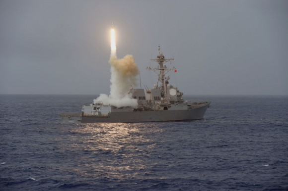 In this handout photo provided by the U.S. Navy, the guided-missile destroyer USS Fitzgerald (DDG 62) launches a missile from the aft missile deck during Multisail 17 on March 7, 2017 in the Philippine Sea. (Mass Communication Specialist 2nd Class William McCann/U.S. Navy via Getty Images)