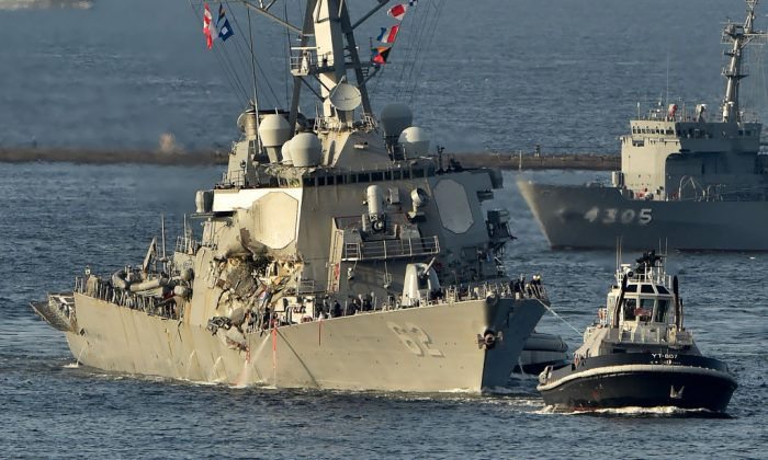 US Navy guided missile destroyer USS Fitzgerald arrves at its mother port US Naval Yokosuka Base, Kanagawa prefecture on June 17, 2017.  (KAZUHIRO NOGI/AFP/Getty Images)