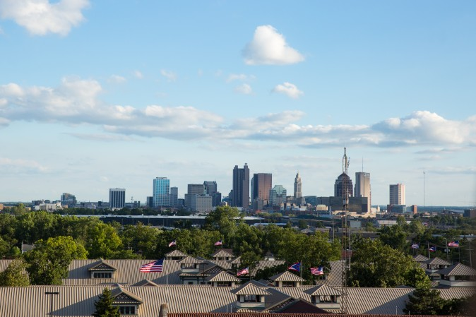 The skyline of downtown Columbus,  on Aug. 4, 2017. (Benjamin Chasteen/The Epoch Times)