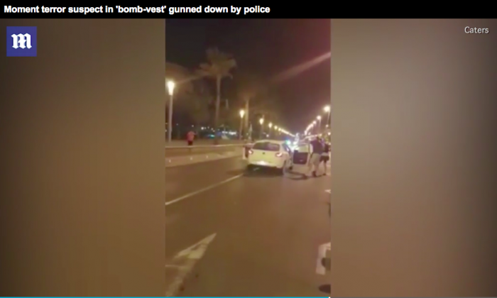 Amateur video shows police in Cambrils, Spain shooting a suspect in a vehicle attack that killed one and injured six others. (Screenshot via Daily Mail)
