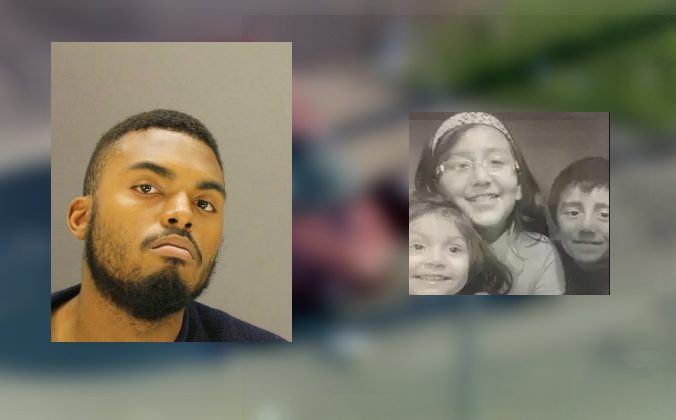 Xavier Taylor (L) in photo by Dallas County Jail and family photo of affected children (R)