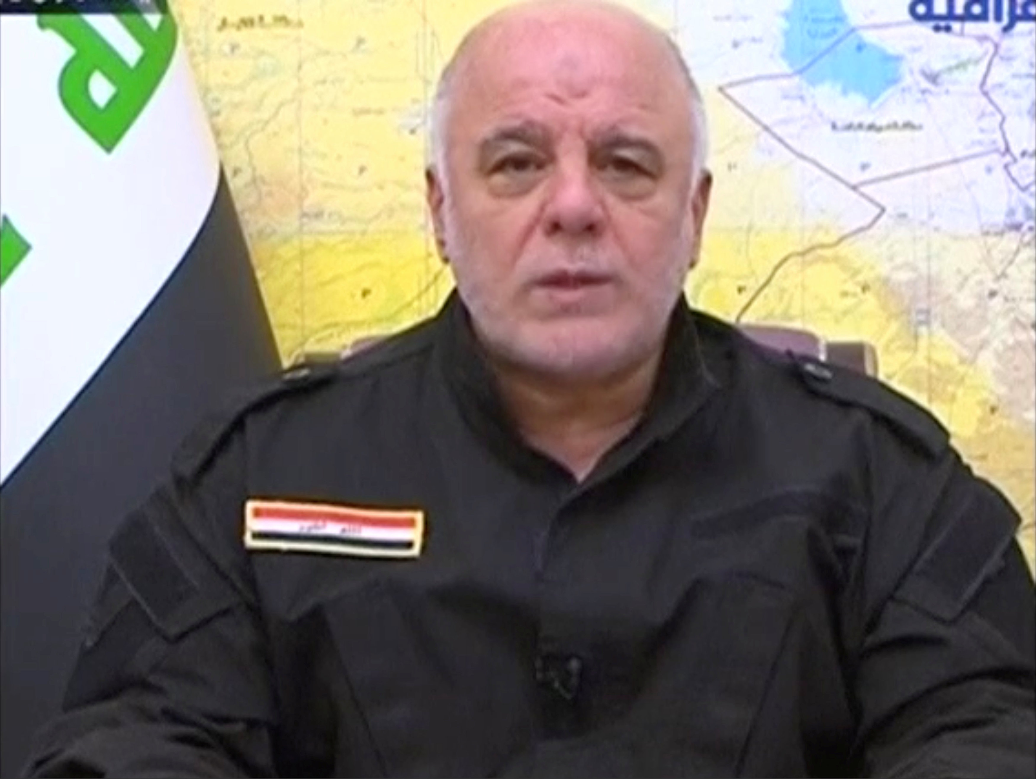 A still image taken from a video shows Iraqi Prime Minister Haider Al-Abadi speaking as he makes a statement on Tal Afar, in Baghdad, Iraq on August 20, 2017. (Al Iraqiya TV/ via REUTERS TV)