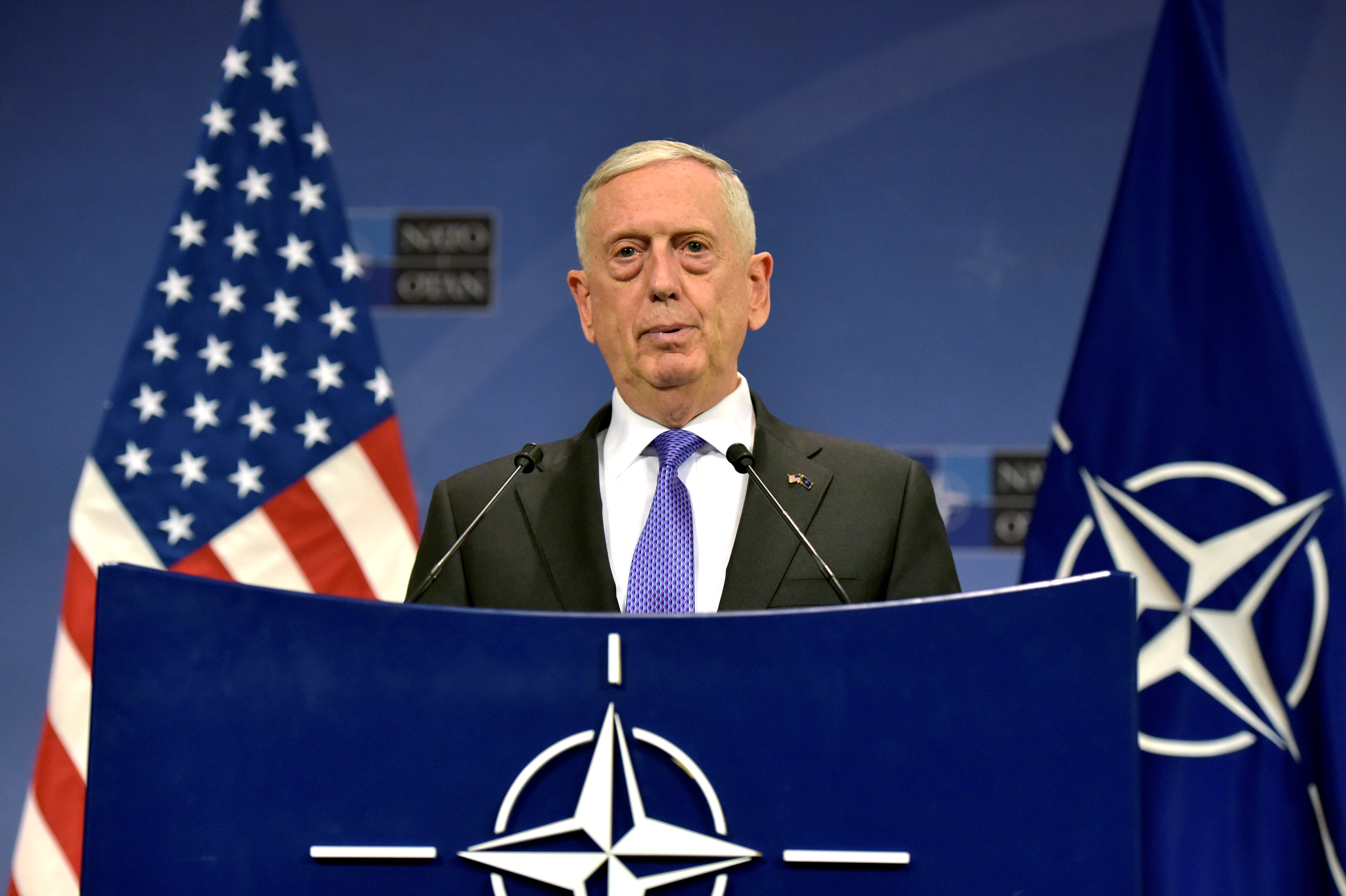 U.S. Secretary of Defence Jim Mattis gives a news conference after a NATO defence ministers meeting at the Alliance headquarters in Brussels, Belgium on June 29, 2017. (REUTERS/Eric Vidal)