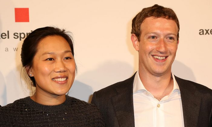 Mark Zuckerberg and Priscilla Chan arrive for the presentation of the first Axel Springer Award on February 25, 2016 in Berlin, Germany.  (Photo by Adam Berry/Getty Images)