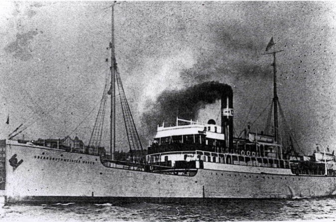 """The """"Oberburgermeister Haken,"""" one of the small passenger ships that were used on routes that connected the harbors of the Baltic Sea, and which were used as """"Philosopher's Ships"""" in this undated file photo. (Public Domain)"""