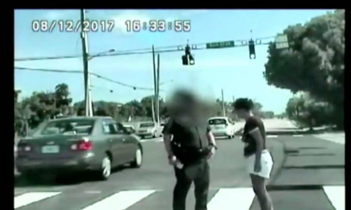 Brandy Lerma taking a sobriety test with a Palm Beach County sheriff. (CNN)