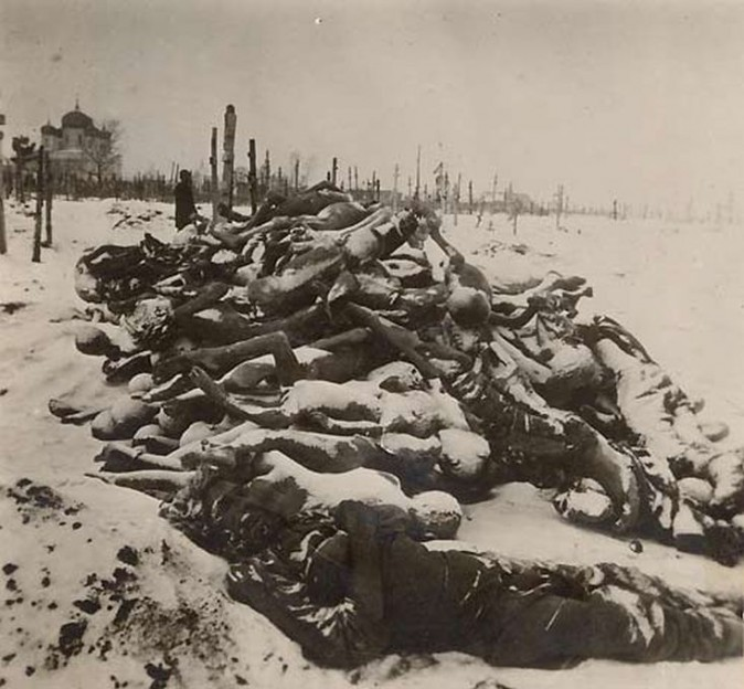 Piled up at the local cemetary, hundreds of corpses (Red Cross)