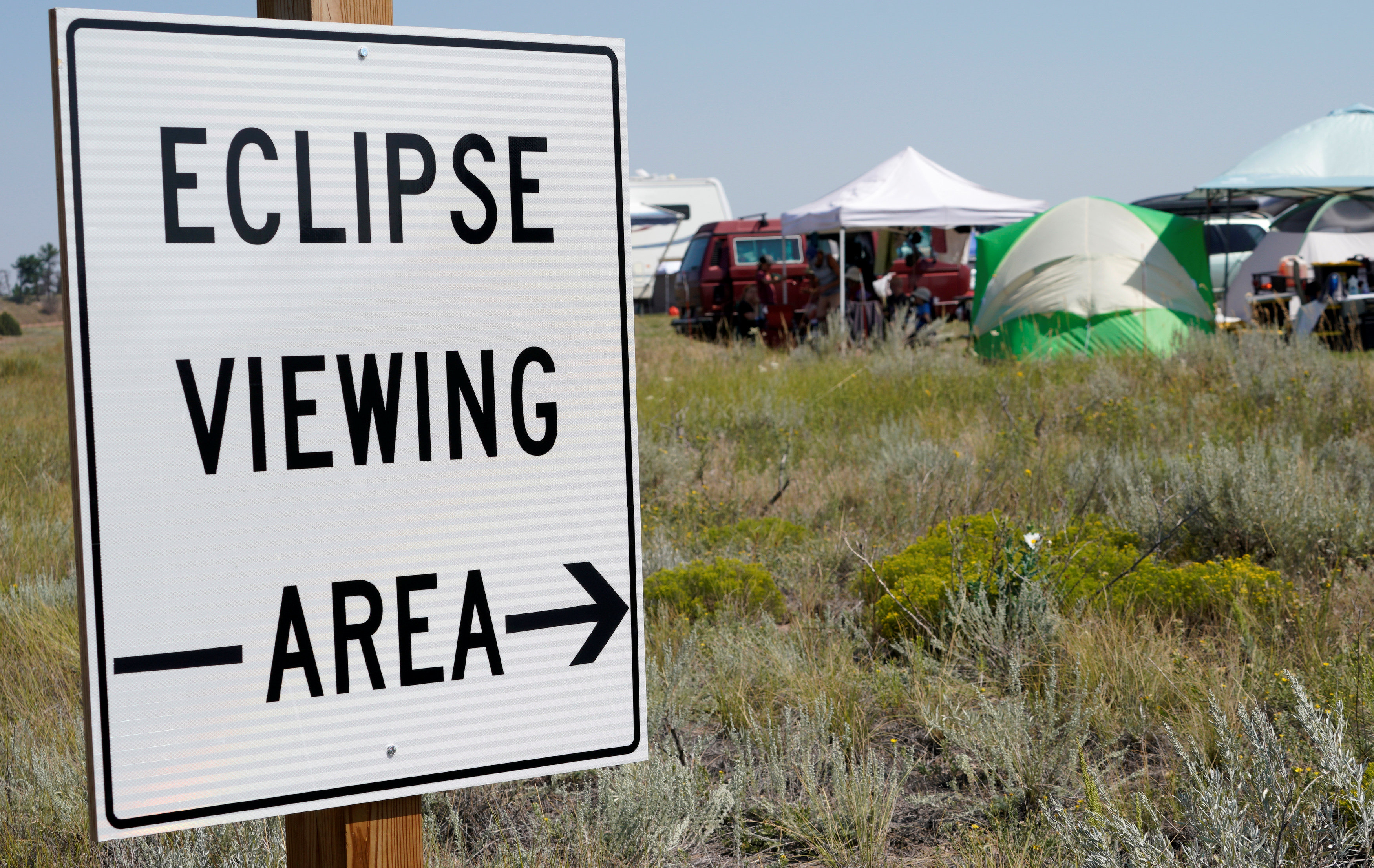 A designated eclipse viewing area is seen in a campground near Guernsey, Wyoming on August 20, 2017. (REUTERS/Rick Wilking)