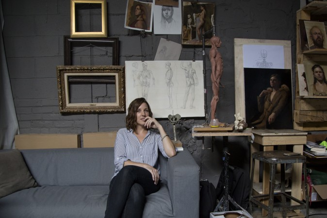 Artist Jessica Leigh Artman at Grand Central Atelier in Queens, New York, on Aug. 11, 2017. (Samira Bouaou/The Epoch Times)