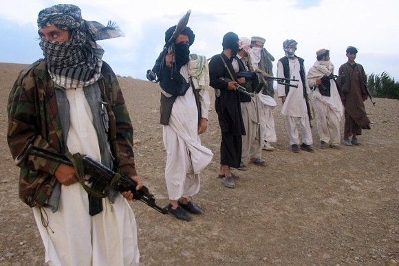 Taliban fighters in Maydan Shahr in Wardak province, Afghanistan, on Sept. 26, 2008. (STR/AFP/Getty Images)
