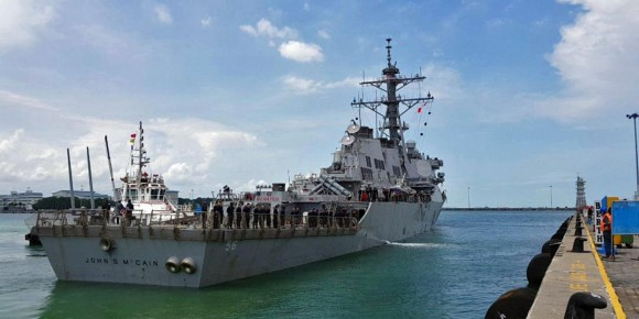 The guided-missile destroyer USS John S. McCain arrives at Changi Naval Base in Singapore August 21, 2017 in this handout photo courtesy of the U.S. Navy. (U.S. Navy/Handout via Reuters)