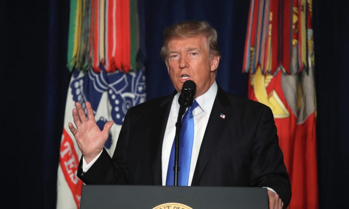 President Donald Trump speaks on his administration's strategy for the war in Afghanistan at Fort Myer in Arlington, Va., on Aug. 21. (Mark Wilson/Getty Images)