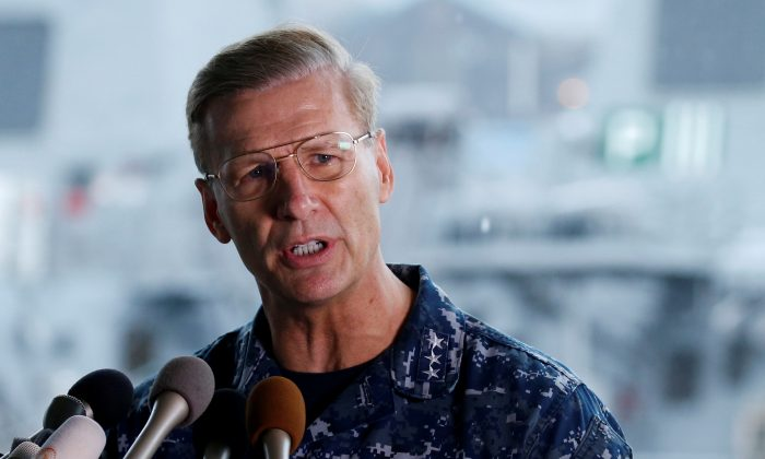 Vice Admiral Joseph Aucoin, U.S. 7th Fleet Commander, speaks to media on the status of the U.S. Navy destroyer USS Fitzgerald, damaged by colliding with a Philippine-flagged merchant vessel, and the seven missing Fitzgerald crew members, at the U.S. naval base in Yokosuka, south of Tokyo, Japan on June 18, 2017. (REUTERS/Toru Hanai)