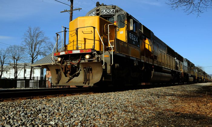 A freight train rumbles through Luray, Virginia in this file photo. (Karen Bleier/AFP/Getty Images)