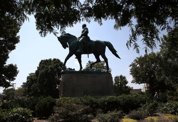 The statue of Confederate Gen. Robert E. Lee stands in the center of the renamed Emancipation Park on August 22, 2017 in Charlottesville, Virginia. (Mark Wilson/Getty Images)