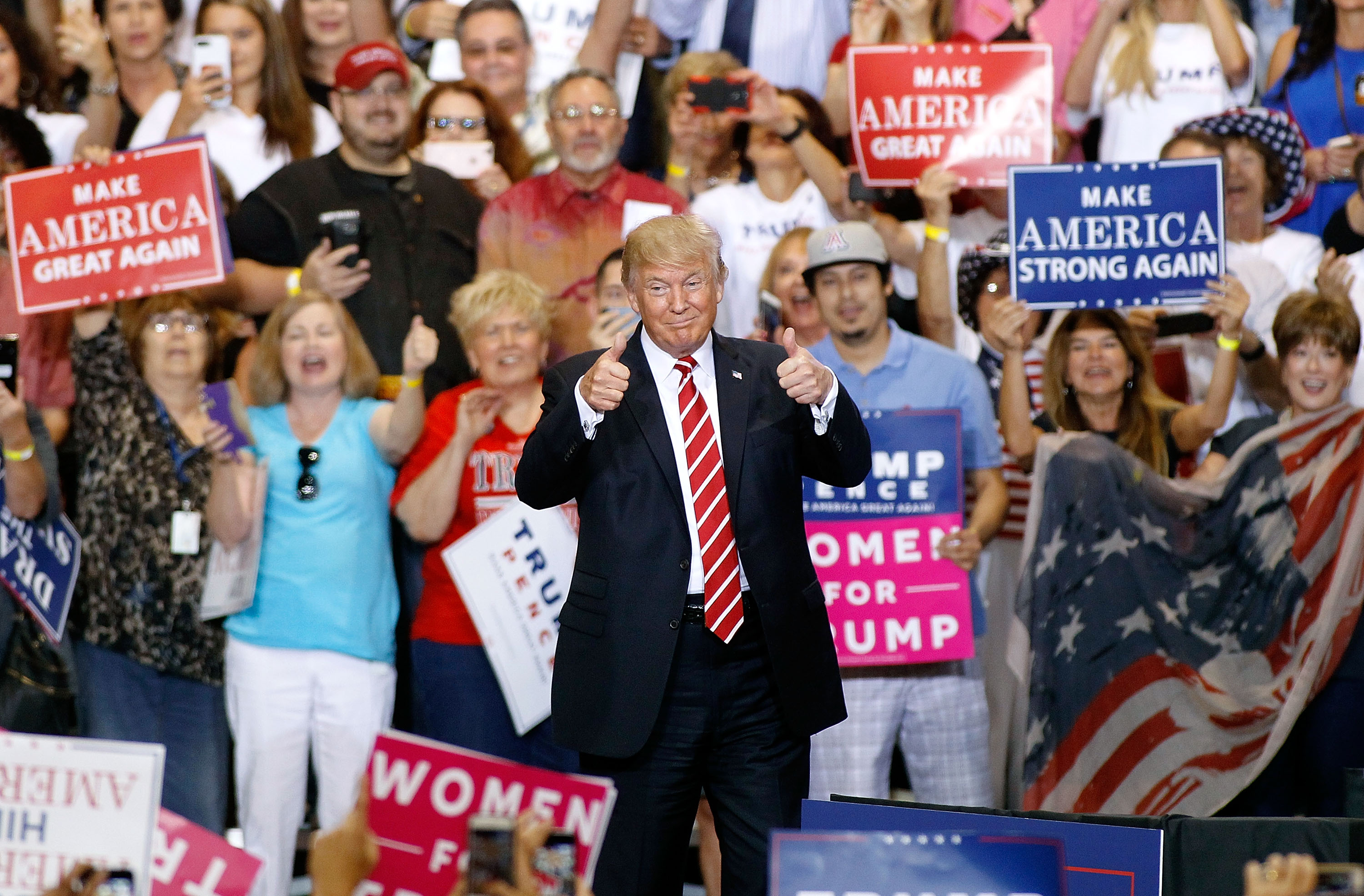 President Donald Trump  during a rally at the Phoenix Convention Center on Aug. 22, 2017 in Phoenix, Arizona. (Ralph Freso/Getty Images)