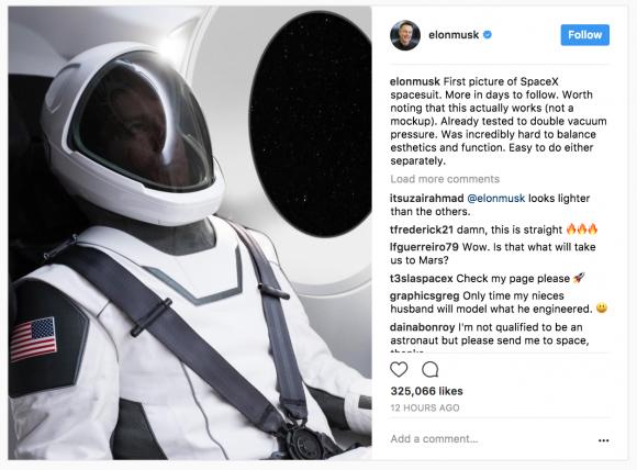 Elon Musk unveils SpaceX spacesuit. (Screenshot via Instagram/elonmusk)
