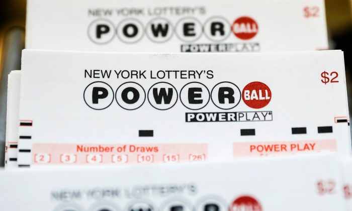 New York Lottery Powerball tickets are displayed in a store in New York City, U.S. on Aug. 22, 2017. (REUTERS/Brendan McDermid)