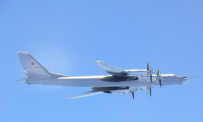 A Russian TU-95 bomber flies over around southern part of Japan in this handout picture taken by Japan Air Self-Defence Force and released by the Joint Staff Office of the Defense Ministry of Japan on August 23, 2017. ( Joint Staff Office of the Defense Ministry of Japan/HANDOUT via REUTERS)