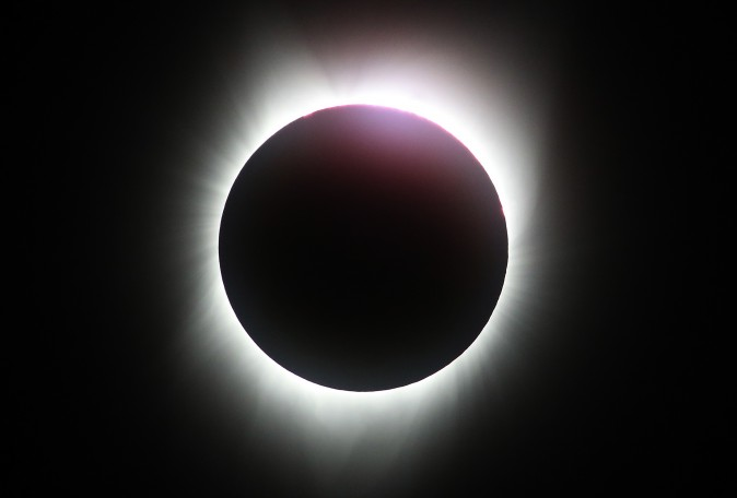A near total eclipse is seen from South Mike Sedar Park on August 21, 2017 in Casper, Wyoming. (Justin Sullivan/Getty Images)
