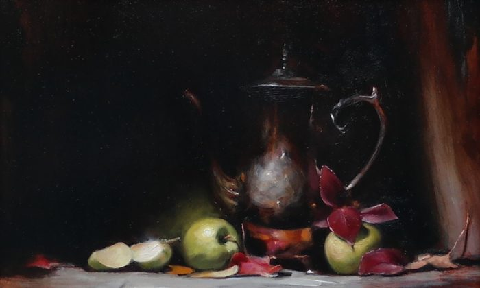 """Green Apples, ""2016, by George Ceffalio,. Oil on wood panel, 12 inches by 16 inches. (Courtesy of George Ceffalio)"