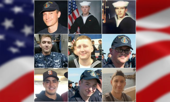 U.S. Navy photo of one sailor who died and eight who are missing from USS John S. McCain (Courtesy)