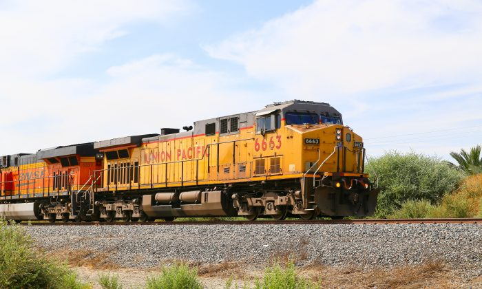 Freight train with both Union Pacific and BNSF engines on track next to California State Route 111. (Michael Rosebrock/Shutterstock)