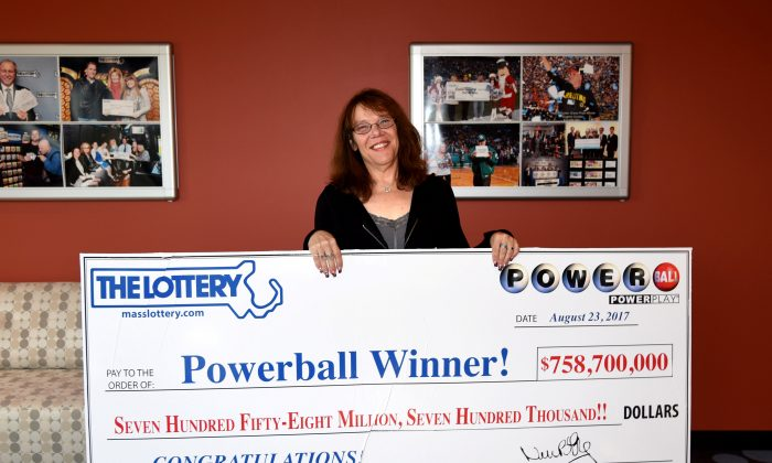 Mavis Wanczyk won the $758.7 million Powerball jackpot, in Chicopee, Mass., on August 24, 2017. (Massachusetts State Lottery/Handout via Reuters)
